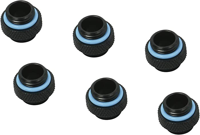 "YaeCCC 6 Pack G1/4"" inch 5mm Male to Male Fitting Matte Black"