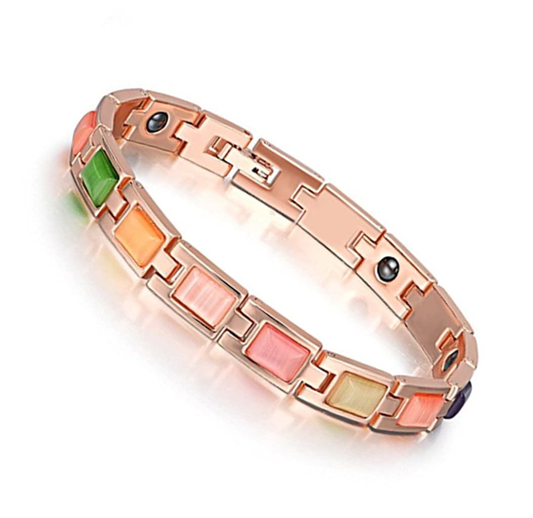HTVNG Jewelry 18K Rose/Yellow Gold Plated Cat's Eye Gemstone Link Bracelets Magnetic Therapy Bracelet 7.8 for Women Antiquity Sian Art JB-HTVNGC-17-M11-D04-N19N01