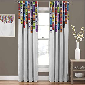 Toopeek Modern Premium Blackout Curtains Traffic Jam with Bunch of Cars Automobiles Urban Life Downtown Artsy Illustration Kindergarten Noise Reduction Curtains W72 x L84 Inch Multicolor