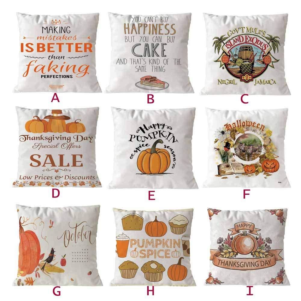 A SMILEQ Decorative Pillowcases Fall Autumn Room Sofa Car Decorative Throw Pillow Case Cushion Cover 18 X18Inch Halloween Home Decor
