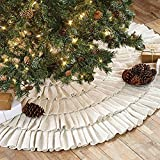 Shimmer Burlap Creme Ruffled Tree Skirt 50'' Christmas Holiday VHC Brands