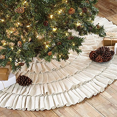 Shimmer Burlap Creme Ruffled Tree Skirt 50