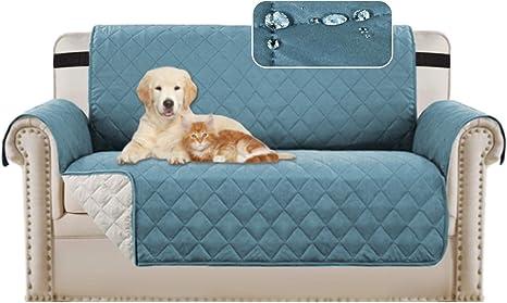 Image ofBellaHills Protectores de sofá Impermeables de 2 plazas de Mascotas/Perros Fundas de sofá Fundas de Muebles Antideslizantes Color Reversible (2 plazas, Azul/Beige)