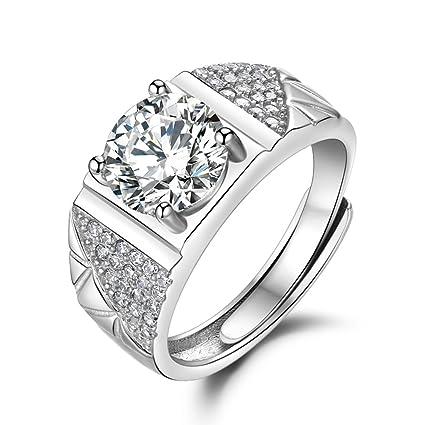 Anillos de plata para hombres plateados oro blanco Anillos abiertos para parejas Anillos de diamantes imitación