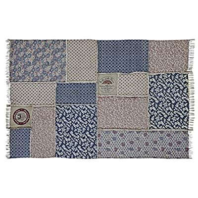 VHC Brands Farmhouse Flooring - Millie White Patchwork Rug, 5' x 8' - Reverse seam patches Assorted fabrics reminiscent of vintage flower sacks in shades of blue interspersed with era labels Tassels on both ends - living-room-soft-furnishings, living-room, area-rugs - 61Wg7o  yaL. SS400  -