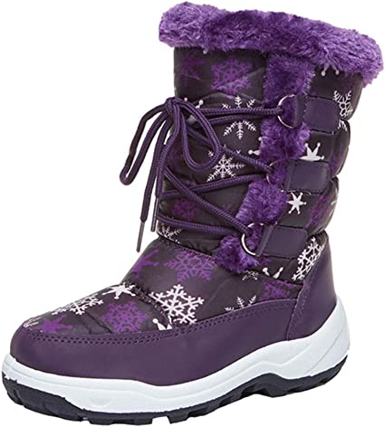 LGXH Boys Girls Snow Boots Non-Slip Outdoor Waterproof Warm Faux Fur Lined Kids Winter Boots Shoes