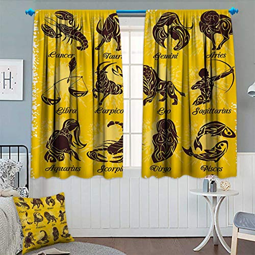 Chaneyhouse Zodiac Window Curtain Drape Signs on Grungy Background Solar System Celestial Constellation Human Art Print Decorative Curtains for Living Room 72'' W x 63'' L Mustard Brown by Chaneyhouse