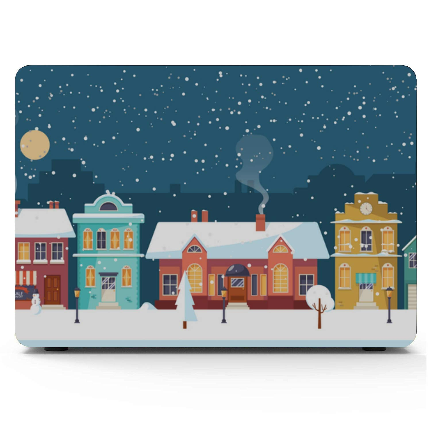 Mac Computer Case Snow Forest Night Countryside House Plastic Hard Shell Compatible Mac Air 11 Pro 13 15 MacBook Cover 13 Inch Protection for MacBook 2016-2019 Version