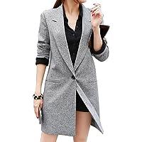 YYG-Women Lapel Long Sleeve Casual Long Blazer Suit Coat Outwear Jacket