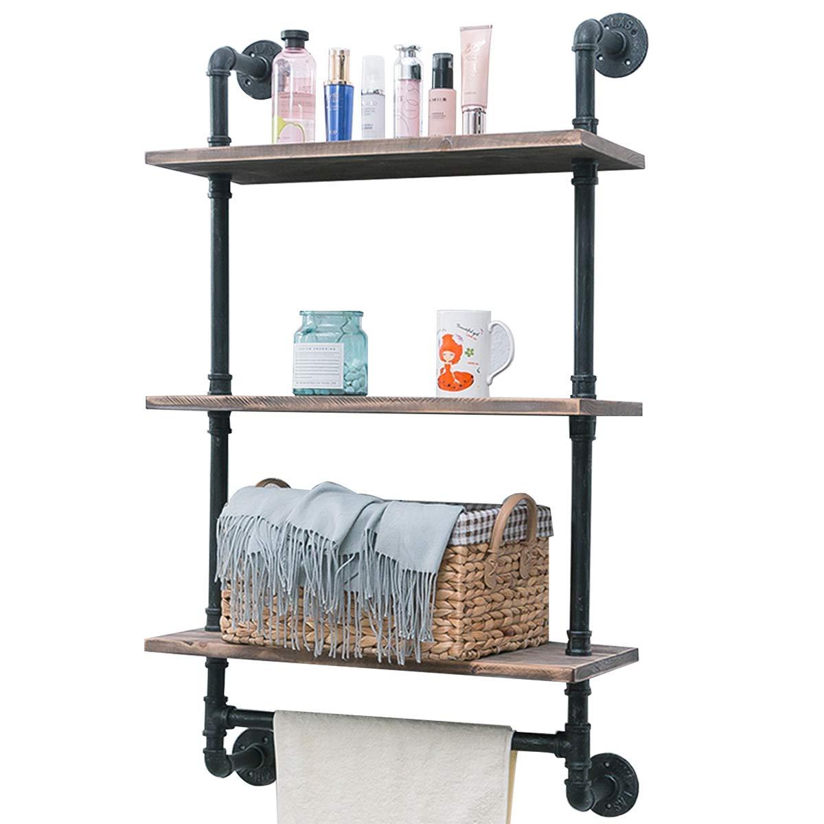 Industrial Pipe Shelf,Rustic Wall Shelf with Towel Bar,24'' Towel Racks for Bathroom,3 Tiered Pipe Shelves Wood Shelf Shelving