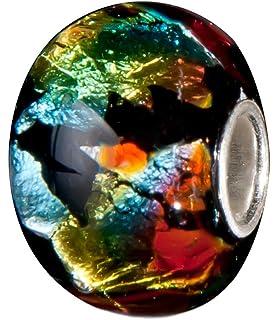 GESCHENK ANDANTE-STONES SILBER MURANO GLAS BEAD GRÜN MIT BLAUEN BLUMEN