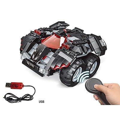 2.4G 4H Bloque de construcción de carga USB DIY Superhéroes eléctricos Kit de construcción Batmobile controlado por aplicación Modelo de coche RC para niños (Color: negro): Bricolaje y herramientas
