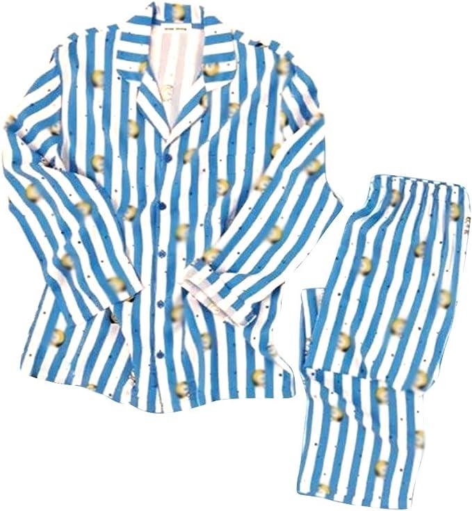 KPOP BTS Bangtan Jungen BT21 Jung JOOK Cartoon Version Jimin V Same Harajuku Pyjama Langarm Nachthemd Mann Frau Bedgown,Dunkelblau,M