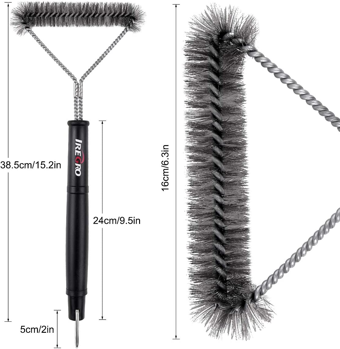 iRegro Grill Brush Three-Sided Stainless Steel Bristle BBQ Grill Brush Barbecue Accessories for Charcoal Gas Electric Grill /…