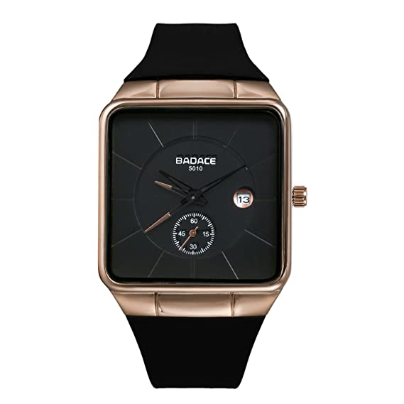 Amazon Com Men S Square Face Ultra Thin Japan Quartz Calendar Watch