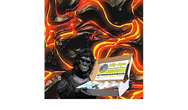 FLAMING MOLTEN LAVA ROCKS HYDROGRAPHIC WATER TRANSFER HYDRO FILM DIP APE