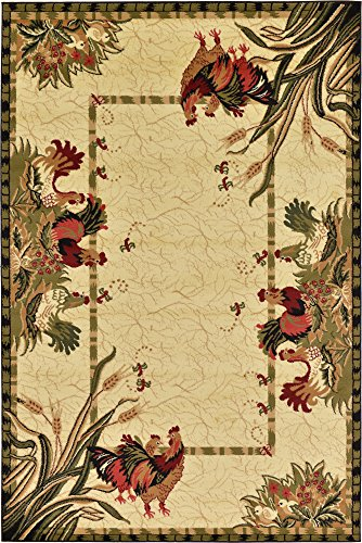 (Unique Loom Barnyard Collection French Country Cottage Roosters Cream Area Rug (6' 0 x 9' 0))