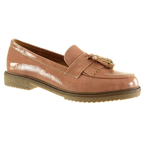 Angkorly - Zapatillas de Moda Mocasines Slip-on Mujer Fleco Tanga Patentes Talón Tacón Ancho 2.5 CM - Rosa WH842 T 38: Amazon.es: Zapatos y complementos