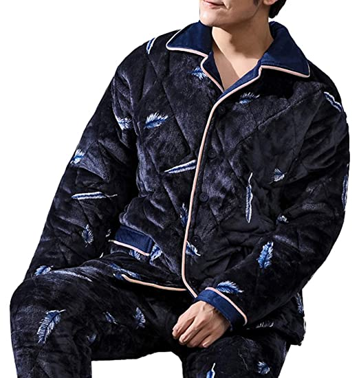 Femaroly Men s Autumn and Winter Pajamas 2 Piece Set Three-Layer Quilted  Padded Velvet Flannel 43673b2f2