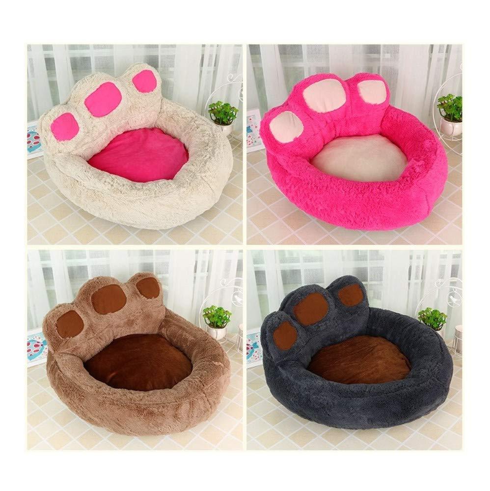50x55x30cm beige WALSITK Cute pet plush bear claw dog nest pet nest Teddy golden Retriever dog bed dog mat cat litter pet supplies, 50x55x30cm beige