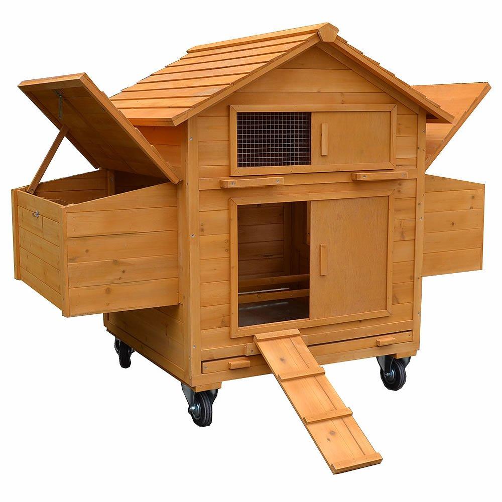 Rollbarer Hühnerstall / Geflügelstall inkl. 2 Nestboxen und Rampe
