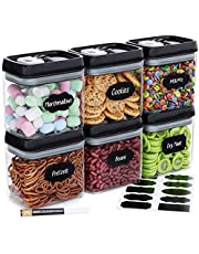 Chef's Path Airtight Food Storage Container Set - 6 PC Set/All Same Size - Labels & Marker - Kitchen & Pantry Organization Dry Food Containers - BPA-Free - Clear Plastic Canisters with Improved Lids