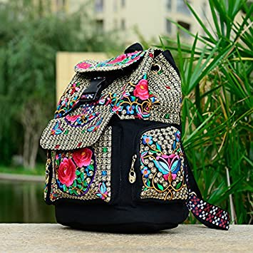 Ethnic embroidered bags schoolbag backpack ladies embroidery canvas backpack,Little  rose
