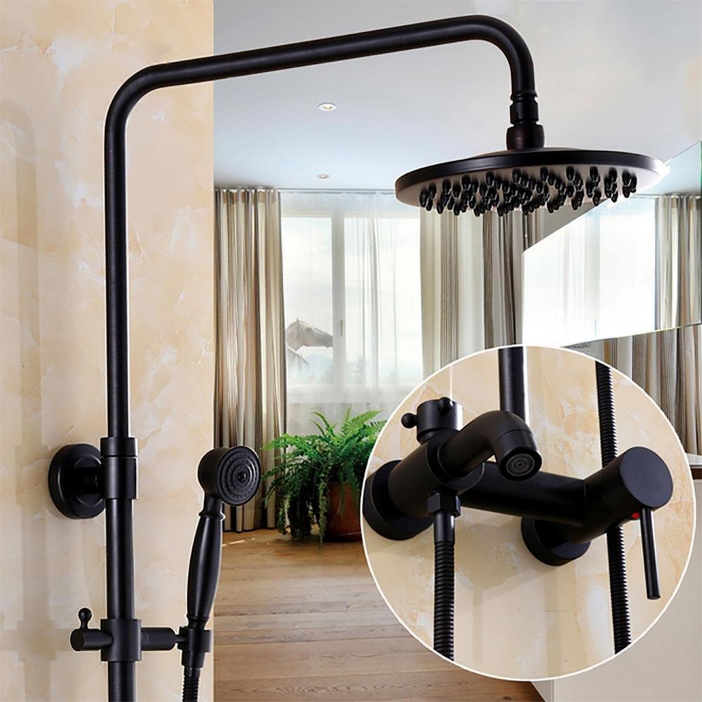European Antique Shower Sets Stylish Handheld Showerhead Shower Black Bronze Rainfall Shower Brass Shower Head Hand Shower Hose , A