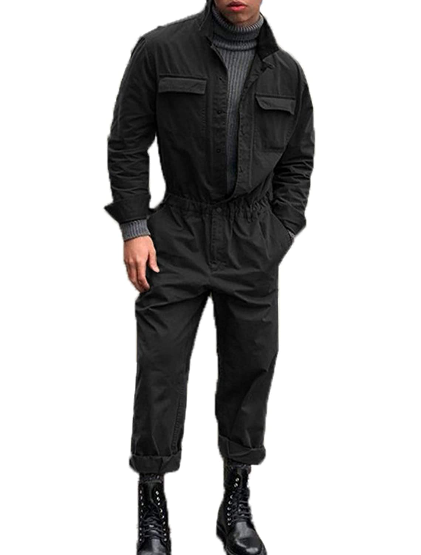 Overall Mä nner Langarm Jumpsuits Playsuit Casual Einfarbig Lange Rompers Einteiler Hosen, Frü hling und Herbst Jinglive