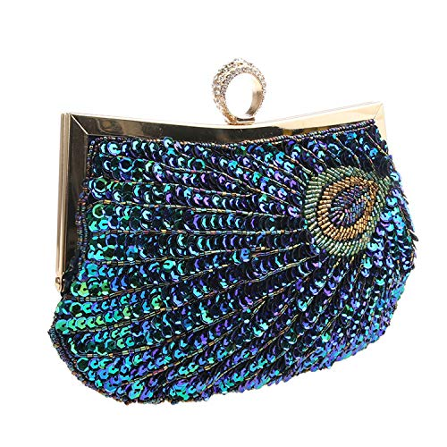SUKUTU Womens Vintage Clutch Teal Peacock Antique Beaded Sequin Evening Turquoise Handbag for Ladies Wedding Bridal Party (Copper Clutch)