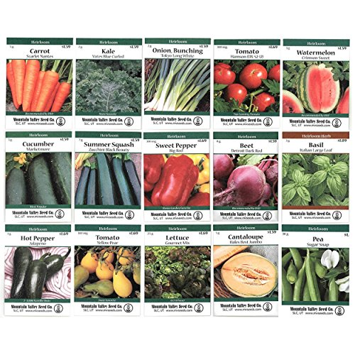 Heirloom Vegetable Garden Seed Collection - Assortment of 15 Non-GMO, Easy Grow, Gardening Seeds: Carrot, Onion