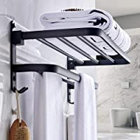 ZYDJ Handdoekenrek, boren niet nodig, vrijstaand wandmontage, mat zwart badhanddoekenrek met dubbele handdoekenhouders…