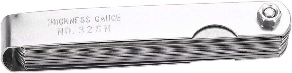 Tellaboull - Medidor de Grosor de 0,04 – 0,88 mm de Calibre preciso de Acero de precisión 32 del medidor de Grosor preciso de Las Cuchillas del Espesor para la Herramienta de medición: Amazon.es: Hogar