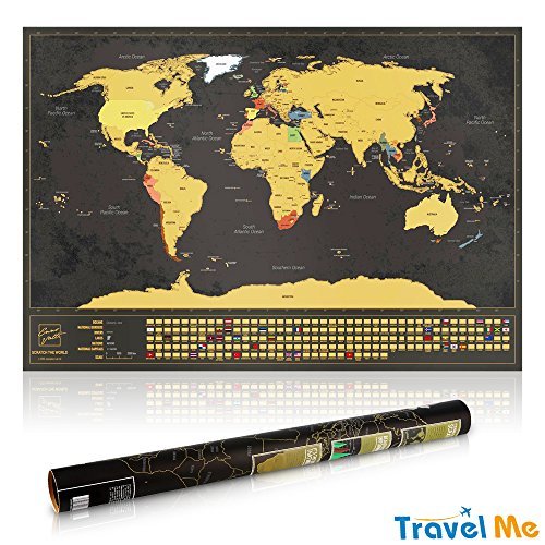 Adventurers Travel Scratch Off World Map - Best Travel Gift For World Travelers, Track Adventures, Perfect For Wall Decor, Great Educational Tool, By Travel Me