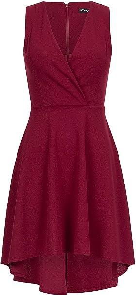 Styleboom Fashion Damen Sommerkleid Cocktailkleid V Neck Kleid Vokuhila Bordeaux Rot Amazon De Bekleidung