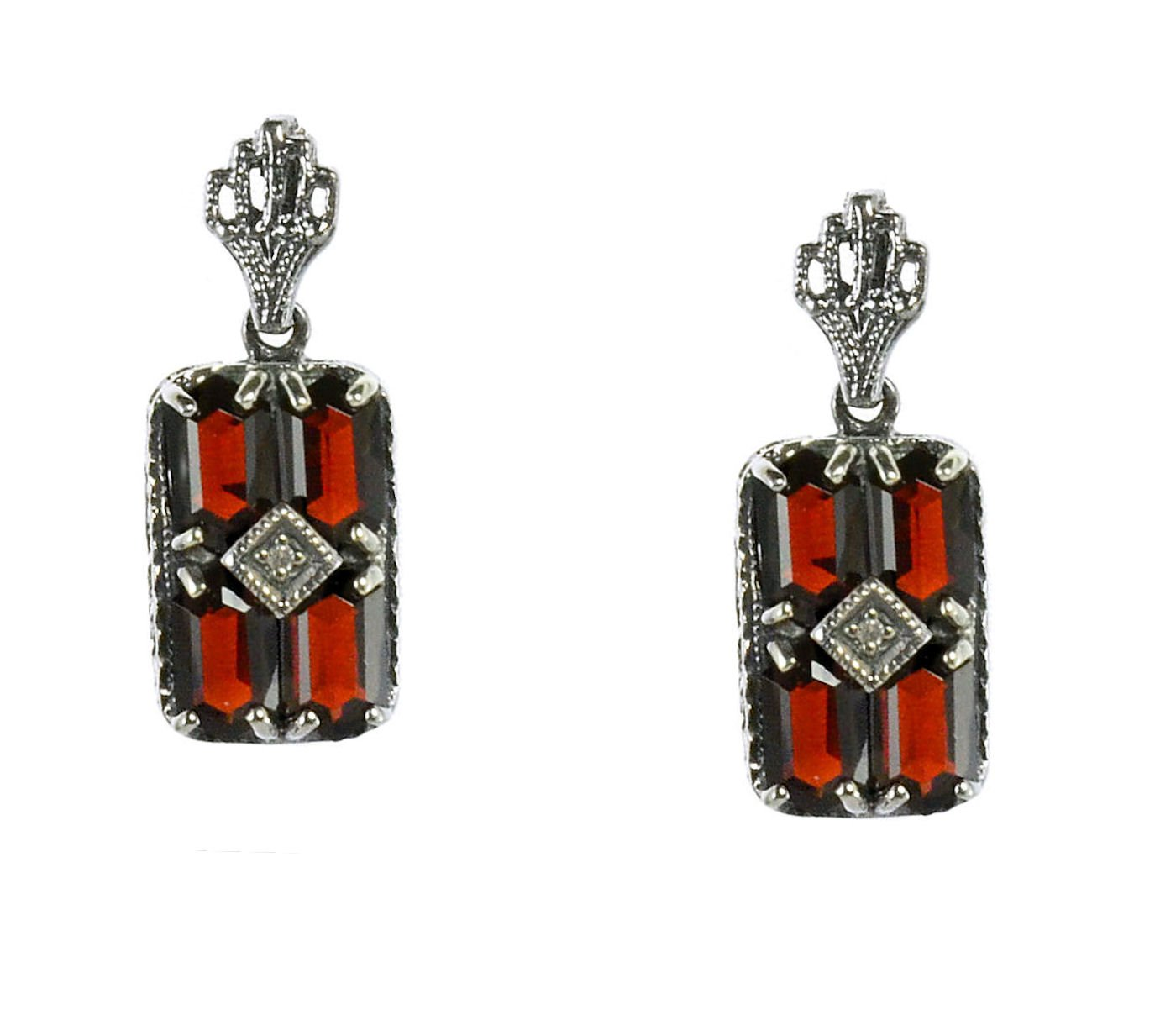 Art Deco Style Sterling Silver Garnet & Diamond Earrings by Jansjewells