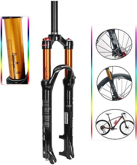 NBMN Bicicleta De Montaña Horquilla De Suspensión, Hombro Controlar Horquilla De Gas Tubo Dorado P34 Neumático Amortiguador Bicicleta Tenedor Delantero, Itinerario: 100mm: Amazon.es: Deportes y aire libre