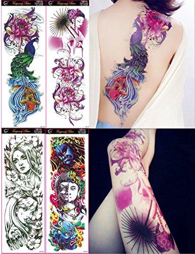 (DaLin 4 Sheets Extra Large Temporary Tattoos, Full Arm (Set 15))