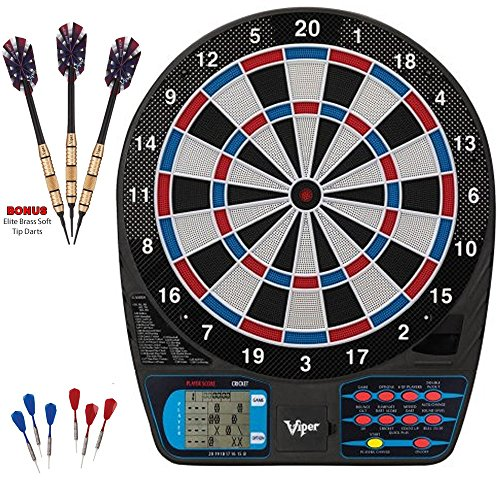 LCD Display Viper 787 Electronic Tournament Dartboard Professional + Bonus Elite Brass Alloy Barrels Soft Tip Darts, 18g by generic bundle