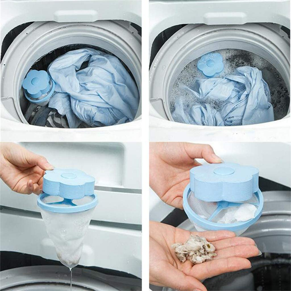 Wffo Household Reusable Washing Machine Mesh Filtering Hair Removal Floating 2Pcs Filter Bag Washer Style Laundry Clean
