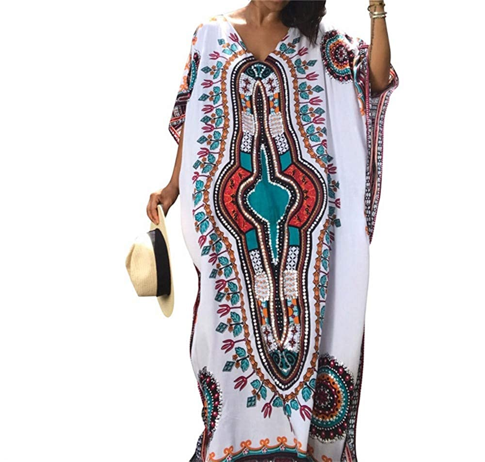 Goodtimeshow Beach Tunics Print Rayon Beach Dress Swimwear Large Size Beachwear Cover ups