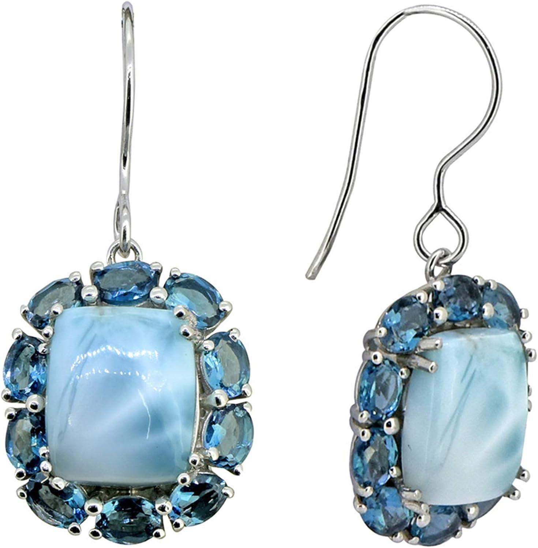 925 Sterling Silver Larimar Earrings