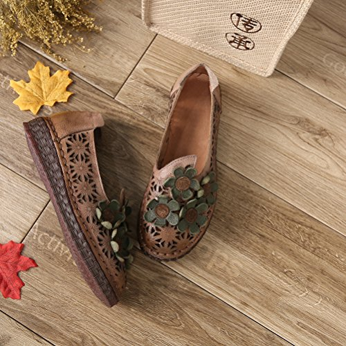 Mordenmiss Womens Wildflower Carving Loafers Gewatteerde Uitgeholde Platte Mocassins Taro