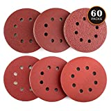 60PCS Sanding Discs, TACKLIFE Sander Pads for 5 Inch Random Orbit Sander, Stronger E Paper Sandpaper for Wood, Metal and Paint, 10Pcs Each Assorted 40/60/80/120/180/240 Grits - ASD03C