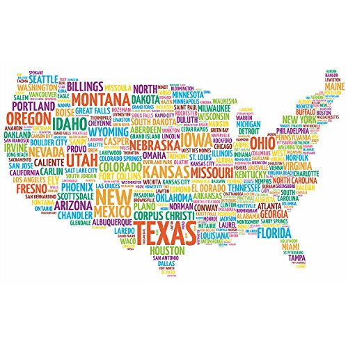 HUABEI Wall Decals United States Of America City Name Wall S
