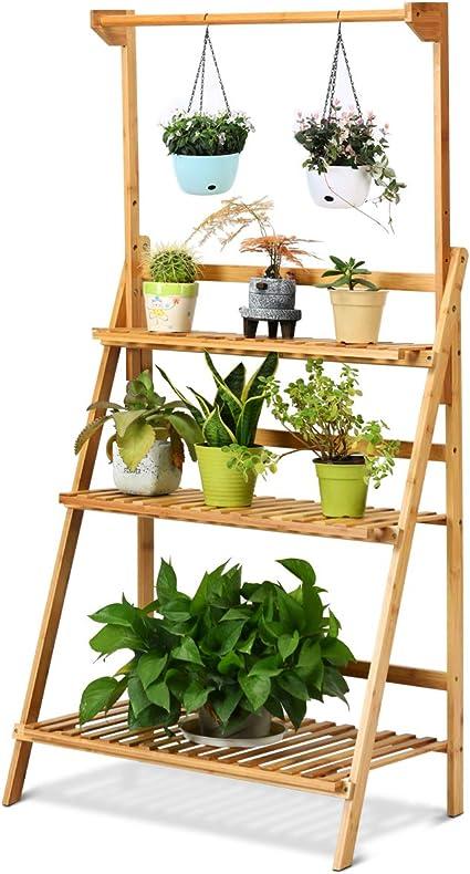 COSTWAY Escalera para Plantas de 3 Niveles Estante de Bambú para Flores Soporte de Macetas para Jardín Balcón