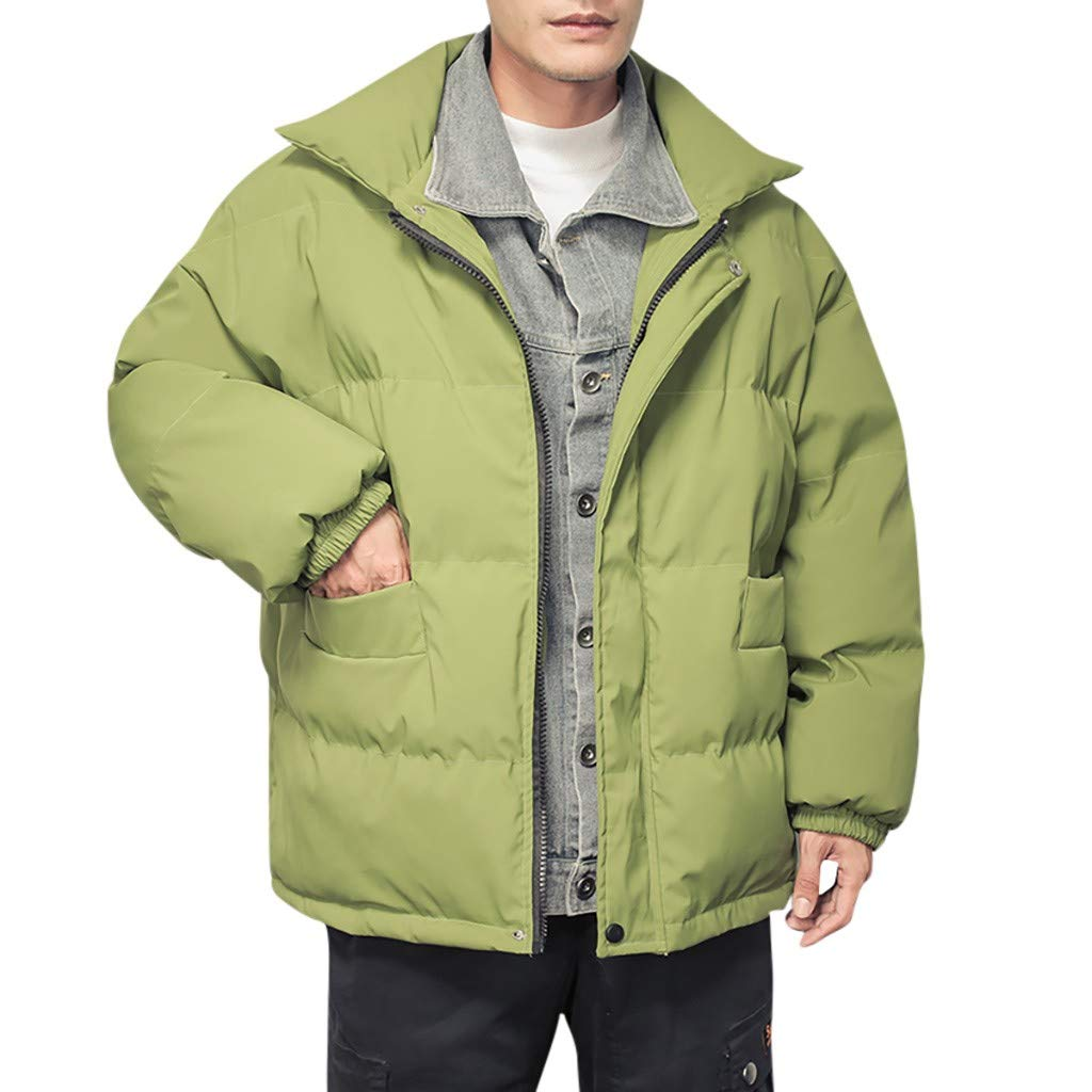 wuliLINL Men's Winter Quilted Puffer Bomber Jacket Hickened Cowboy Fake Two Cotton Coat(Green,XXXXXL) by wuliLINL