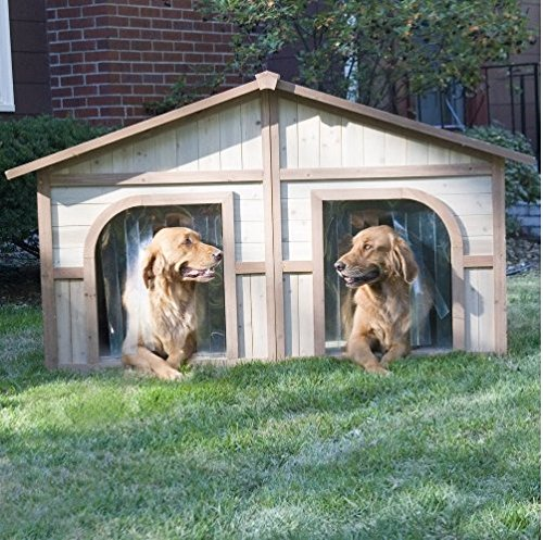 Cheap Extra Large Solid Wood Dog Houses – Suits Two Dogs Or 1 Large Breeds. This Spacious Large Dog Kennel Has Two Doors And Can Be Partitioned For Two Dogs. Large Outdoor Dog Bed Has A Raised Bottom and Natural Insulation. Your Perfect Large Dog Bed.