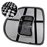 PrimeTrendz TM Black Lumbar Mesh Back Brace Support Office Home Car Seat Chair Ventilate Cool Cushion Pad with Massage   Breathable, Massage Beads for Ultimate Comfort (1 Piece)