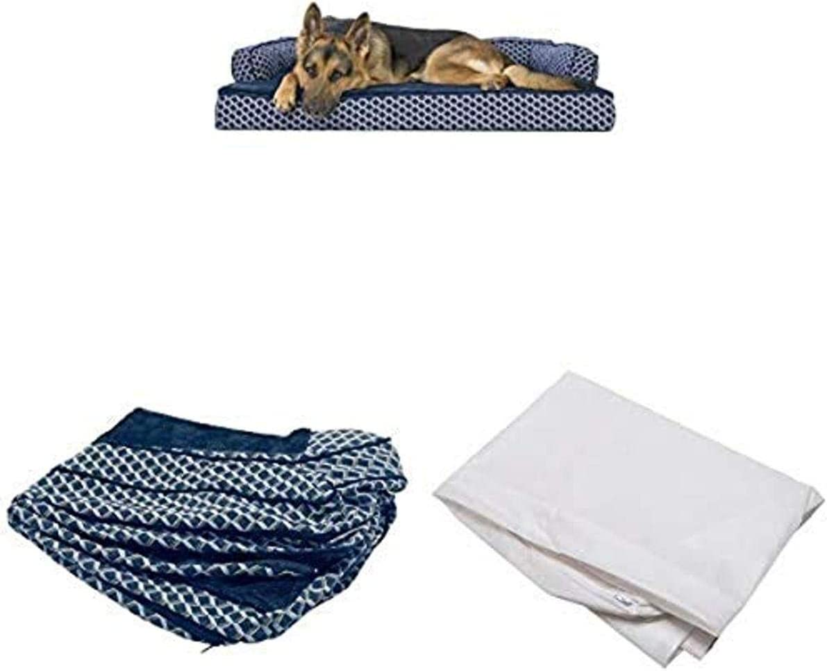 Furhaven Pet Bundle - Jumbo Diamond Blue Orthopedic Plush Faux Fur & Décor Comfy Couch Sofa, Extra Dog Bed Cover, Water-Resistant Mattress Liner for Dogs & Cats